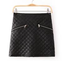 bags empire - Bodycon Zippers PU Leather Skirts Women Spring Winter Black Diamond Patterned zipper bag European Brands Mini Skirt J
