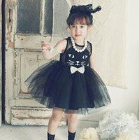 cute dress - 2015 Sweet Style New Summer Formal Dresses Children Girl s Sleeveless Multi layered Cute Cat Dress Gauze Princess Birthday Dress