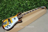 left handed bass guitar - New Style bass Brown yellow color electric bass guitar silver hardware Musical Instruments