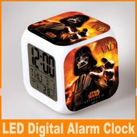 Wholesale Christmas D cartoon Star wars LED light alarm clock Darth Vader Yoda character figure colorful desk table clocks designs DHL FREE OM CB4