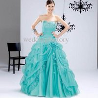 Wholesale Gorgeous Quinceanera Dresses Lovely Beaded Lace Appliqued A line Cotillion Quince Debutante Gowns with Handmade Flower Prom Gowns