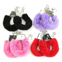 Wholesale Sexy Soft Furry Steel Fuzzy Fur Wrist Handcuffs Dress Valentines love Gift Toy