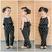 Cheap Girls Casual Outfits Sling Clothing Sets romper baby Lovely Heart-Shaped jumpsuit cargo pants bodysuits kids wear children Outfit