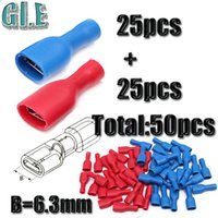 Wholesale 50pcs Blue Red Female Insulated Spade Terminals Electrical Crimp Connector Assortment Kit mm AWG