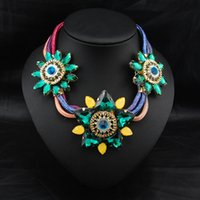 Wholesale Fashion New Jewelry Crystal Flower Petals Shape Ribbon Chain Pendant Necklace Collar Choker Necklace For Women