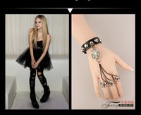 ancient goths - New Style Goth punk style restoring ancient ways the timberwolves skull bracelet leather bracelet with ring HOT SALES
