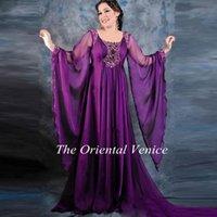 abaya model - Elegant Purple Arabic Kaftan Long Evening Dress A Line Long Sleeves Beaded Crystals Arabic Abaya Jalabiya Dubai Prom Dresses