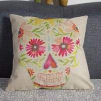 Cheap Vintage Personality Cotton Linen Skull Pillowcase 43cm*43cm Skull Cushion Cover Pillow Case For Sofa Bed Cars Decoration