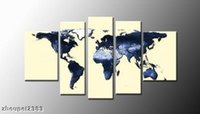 Cheap Distinctive Modern Handcraft oil painting on canvas world map (No Frame) free shippment