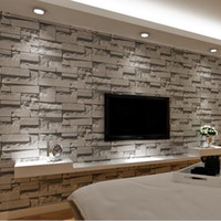 background black - Stacked Brick D Stone Wallpaper Modern Wallcovering PVC Roll Wallpaper Brick Wall Background Wallpaper Grey For Living Room W7