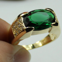 Wholesale Jenny G Jewelry Size Classic Green Emerald Gemstone KT Yellow Gold Filled Gem Ring for Men