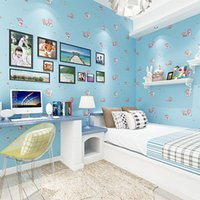 Wholesale Modern Environmental Non woven Wallpaper Blue Cartoon Fantasy Children s Room Background Wallpaper Bedroom Wallcoverings Roll