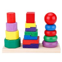 Wholesale Brand New Baby Toy Kids Colorful Learning Geometry blocks Wooden Toys Early Educational Toy For Children SV014557