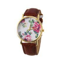 band pink roses - 2016 Fashion Geneval Brand Wrist Watches for Women Golg Case PU Band Rose Flower Dial Quartz Watch Female Clock Relogio Feminino Wristwatch