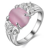 al por mayor joyería de ópalo simulada-Tamaño 7 joyería retro lleno de anillos de ópalo anillo de diamante simulado mujeres anillo de bodas de cobre chapado en plata 925
