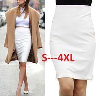 Wholesale Hot Sale Summer New Fashion Lady Elegant Formal Midi Skirt Vintage Casual Slim Pencil Skirt White Black Plus Size Zc15618