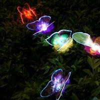 Wholesale New Solar Powered Fiber Optic Butterfly LED Solar Gardening Light For Christmas Party Garden Decoration