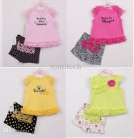 Cheap Wholesale-EMS DHL Free shipping baby girls toddlers 2pc Set Suit Character t Shirt + Ruffles pants children clothes infant wear