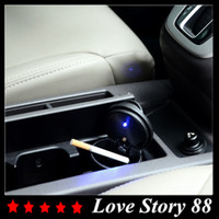 Wholesale 2015 New Universal Black Car Cigarette Holder LED Ashtray thick Auto Portable Car Cigarette Ashtray Car Styling
