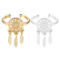 achat en gros de meilleures offres anneaux de mode-Meilleure offre New Fashion Women Dreamcatcher Rings Feather Charm Pendant Dream Catcher Wish Ring Gold Silver Perfect Gift 1PC