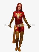 achat en gros de rouge métallique zentai-Rouge Jean Grey Costume Phoenix brillant métallique de halloween costume cosplay zentai Phoenix X-men costume de super héros vente chaude livraison gratuite