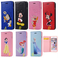 Wholesale Snow White Wallets - Cartoon Mickey Mouse Donald Duck frozen snow white TPU case cover for iphone6 6s plus flip case with double card slot for samsung S5 note3 4