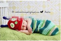 Winter baby caterpillar costume - 5 off sets Crochet Baby Hats Caterpillar Crochet Hats and Cocoon Sets Handmade Infant Photography Props Costume Outfits Drop shipping QR