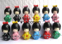 Wholesale set Japanese kokeshi Doll PVC Action Figure Toys Brithday Gift For Children W