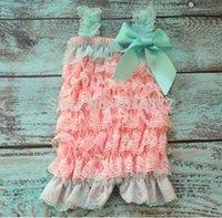 aqua lace romper - Aqua Dark Pink Baby Lace Romper Baby Ruffle Rompers Newborn Baby Birthday Romper