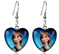 Wholesale Frozen Jewelry Elsa Anna Glass Heart Dangle Earrings For Girl Women High Quality