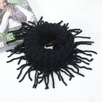 Wholesale FEDEX FREESHIPPING cm Women Hollow Winter Warm Knit Wool Snood Scarf Tassel Fringes PURL scarves Cowl Neck Circle Shawl Wrap