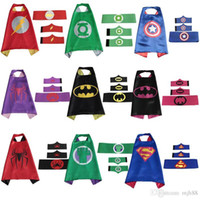 Wholesale Superhero Capes for kids cape with masks for children party set cape mask belt pair wristband in stock