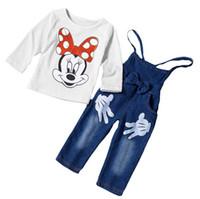 Cheap 2016 Spring Autumn Children Clothing 2PCS Sets Girls Mickey Minnie Mouse Tshirts Tops Suspender Pants Set Kids Tee Shirt Trouser D6575