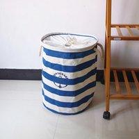 basket handle - blue stripe fabric laundry basket storage basket with cotton handles drawstring cloth