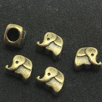 Wholesale 50pcs Antique Bronze Elephant Bead Hole MM Spacer Beads Fit Round Cord for Bracelets Necklace Jewelry DIY Charms