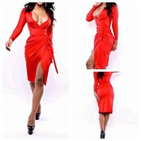 Wholesale New Arrival women sexy v neck dresses red long sleeve bodycon bandage dress party dresses woman clothes NB00672