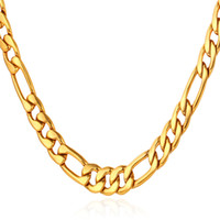 18k gold chain necklace - 18K Real Gold Plated Figaro Necklace Chains For Men High Quality Gold Filled African Necklaces MM Factory MGC N1041