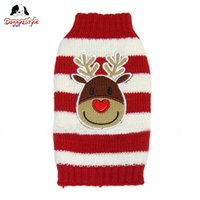 apparel for dogs - Christmas Reindeer Pet Puppy Cat Dog Sweater Striped Knit Coat Apparel Clothes Holiday Sweater for Pets Sizes for Small and Large Dogs