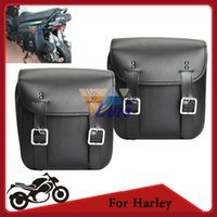Wholesale Universal Motorcycle Bags Black PU Leather Tool Side Saddle Bag Chopper Touring Bike For Harley Davidson Yamaha Suzuki KTM Honda order lt no