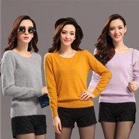 mink cashmere - O Neck Long Sleeve Mink Cashmere Sweater Pullover For Women Girls Autumn Winter Knitted Pullover Sweater Fashion Cashmere Pullover L013