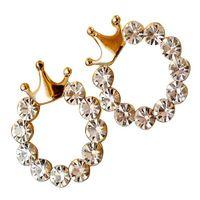 Wholesale Charming Cute Gold Plated Enamel Rhinestone Crown Earring fashion women s jewelry wedding stud earrings