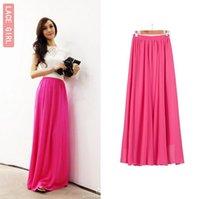 Cheap Wholesale Free shipping Women Ladies Girl High Waist Pleated Chiffon Full long Maxi puff Skirt dress
