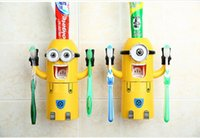 Wholesale 200 sets In Stock Cute Despicable Me Minions Design Set Cartoon Toothbrush Holder Automatic Toothpaste Dispenser with Brush Cup