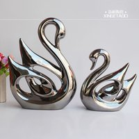Wholesale Modern and elegant European style luxury home decoration pottery decoration gold plated silver ornaments couple Swan