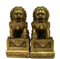lion statue - Collectibles China Chinese Brass Folk Fengshui Foo Fu Dog Guardion Door Lion Statue Pair