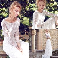 Wholesale 2016 New Romantic Two Pieces Lace Wedding Dresses Sheath Sheer Jewel Neck Long Sleeves Plus Size Bridal Gowns Robe De Marriage BA0611