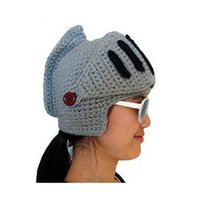 acrylic beanie - 2015 Hats Roman Knight Helmet hats for women men cotton acrylic Skull Knit Crochet Gladiator Mask Windproof Snowboard Beanies hat