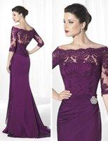 purple mother of bride dress - New Half Sleeve Lace Mother Dresses Purple Chiffon Long Mother of Bride Dresses Plaest Applique Bateau Wedding Formal Wear