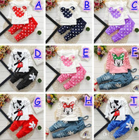 accept tshirt - 2016 Girls Mincky Mouse Outfits Kids Girl Spring Autumn Long sleeve Dot with Bow Tshirt Polka PP Pants accept size choose