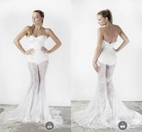 Cheap Unique Sexy Mermaid Wedding Dresses Applique Lace Applique Sexy Wedding Dresses Lace Trousers Floor Length Amazing Berta Bridal Formal Gown